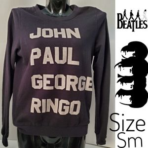 BEATLES Band Logo Pullover Sweatshirt Size Xsmall